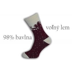 98%-né bavlnené teplé ponožky - bordové
