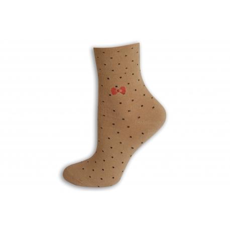 Zdravotné dámske ponožky s bodkami - prírodné