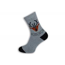 Teplé sivé ponožky s jeleňom
