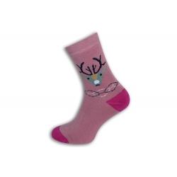 Teplé ružové ponožky s jeleňom