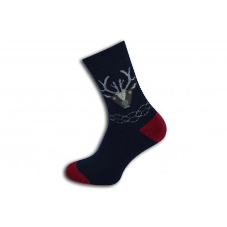 Teplé modré ponožky s jeleňom