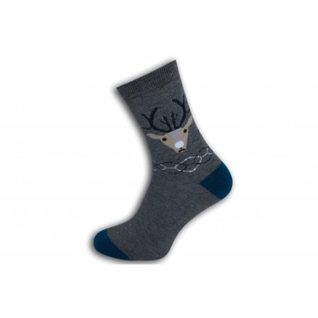 Teplé šedé ponožky s jeleňom
