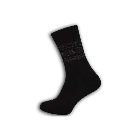 Čierne teplé ponožky so vzorom