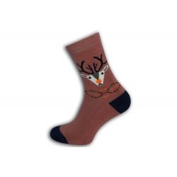 Teplé tehlové ponožky s jeleňom