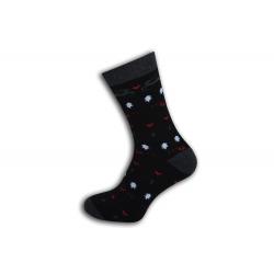 Výnimočné teplé vzorované teplé ponožky - čierne