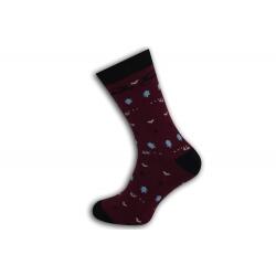 Výnimočné teplé vzorované teplé ponožky - bordové