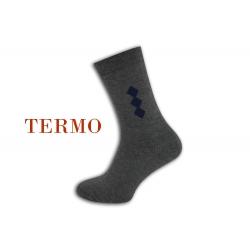 Teplé sivé pánske ponožky so vzorom .