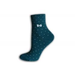 Zdravotné dámske ponožky s bodkami - zelené