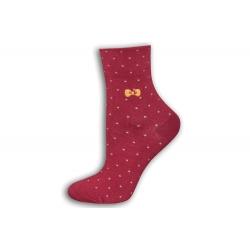 Zdravotné dámske ponožky s bodkami - bordové
