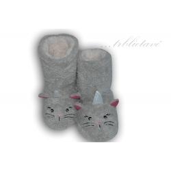 Trblietavé dámske sivé papuče s očami