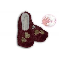 Extra jemné dámske nízke papuče - bordové