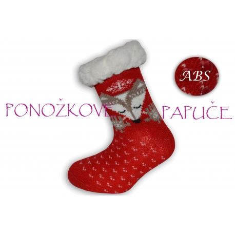 Ponožkové papuče červené s líšlou