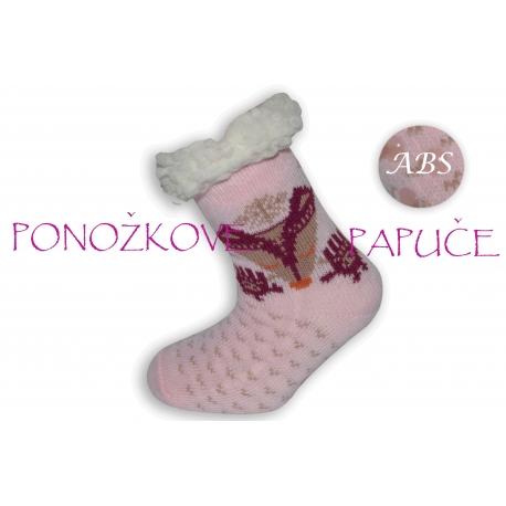 IBA 24-27! Ponožkové papuče bl.ružové s líšlou