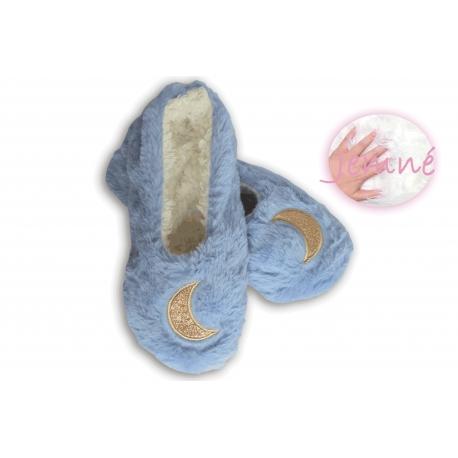 Extra jemné dámske nízke papuče - modré