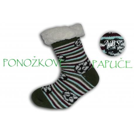 IBA 28-31!Pásikavé ponožkové papuče s ABS -zelené