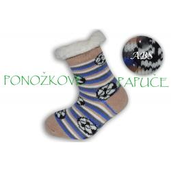 IBA 24-27!Pásikavé ponožkové papuče s ABS -béžové