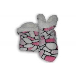 Vzorované bielo-ružové detské papuče